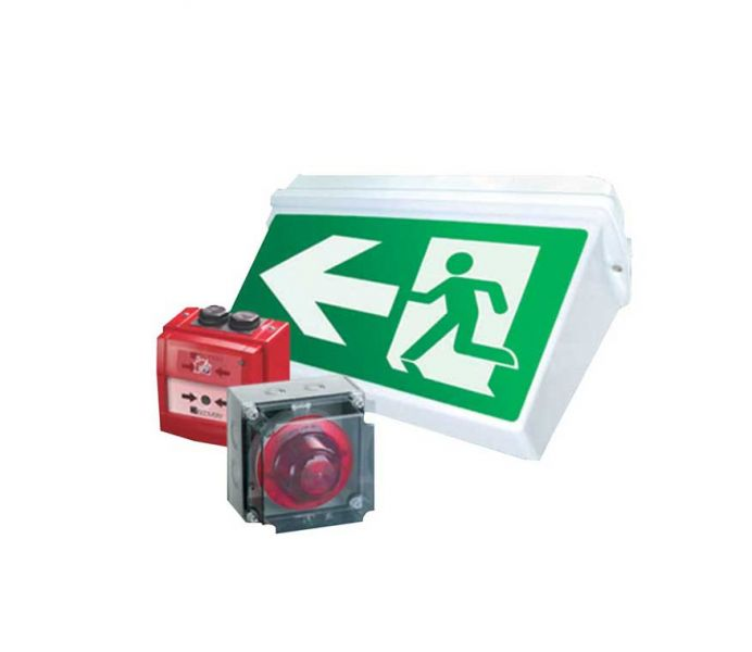 Fire exit sign and fire alarm button pushes