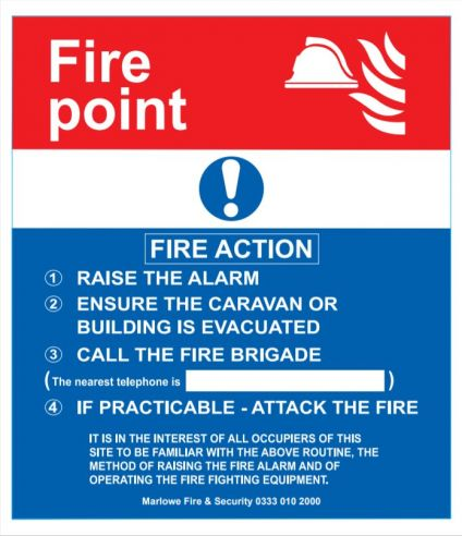 Self Adhesive Fire Action Sign - 210 H x 183 mm