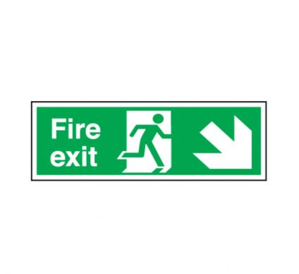 Fire Exit Sign With Arrow - Self Adhesive - 150x450