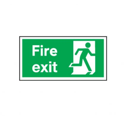 Fire Exit Sign Without Arrow - Self Adhesive - 150x300