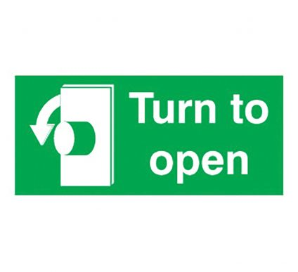 Turn To Open - Self Adhesive - 50mm x 100mm