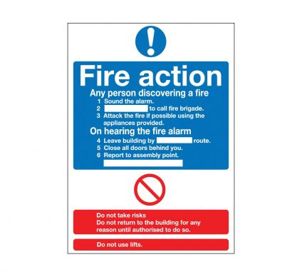 Fire Action - Rigid - 400mm x 300mm