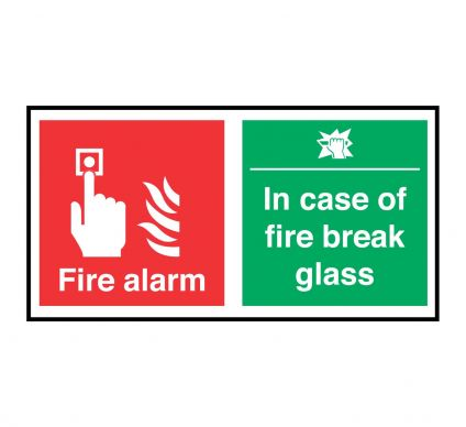 Fire Alarm In Case Of Fire Break Glass - S/A - 100mmx200mm