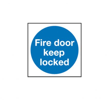 Fire Door Keep Locked - Self Adhesive - 100mm x 100mm