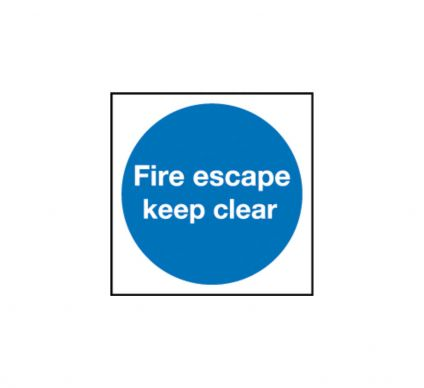 Fire Escape Keep Clear - Self Adhesive - 100mm x 100mm