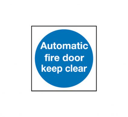 Automatic Fire Door Keep Clear - Self Adhesive - 100mmx100mm