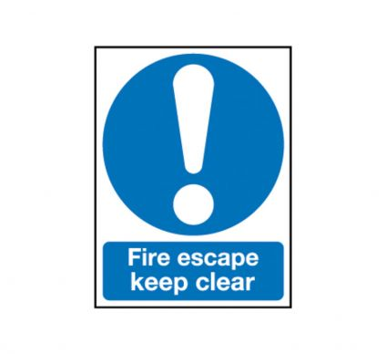 Fire Escape Keep Clear - Self Adhesive - 200mm x 150mm