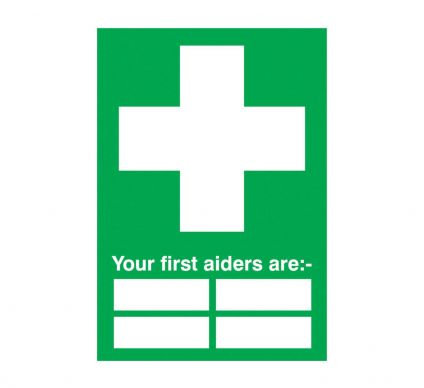 Your First Aiders Are - S/A - 250mm x 100mm