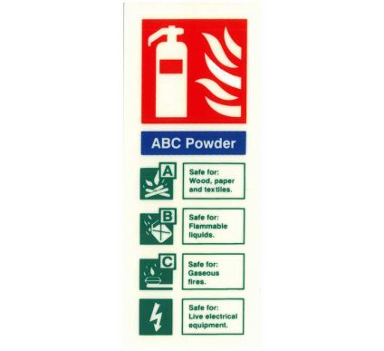 Photoluminescent ABC Powder Extinguisher Location Sign