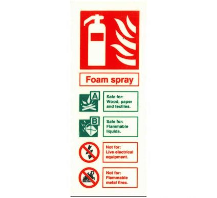 Photoluminescent Foam Extinguisher Location Sign