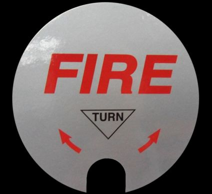 Rotary Hand Bell Fire Label (Self adhesive replacement label)
